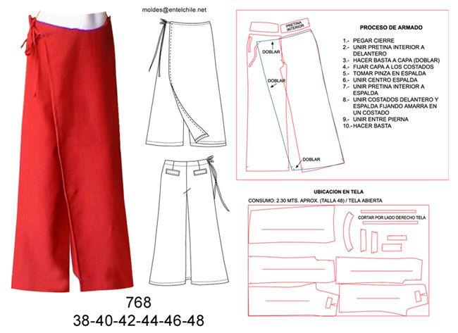 768 Pantalón pareo basta ancha (31 cms.), Tallas: 38-40-42-44-46-48 ...