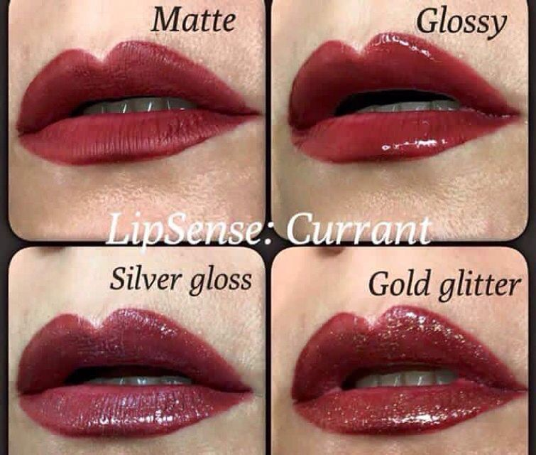Same LipSense colour topped with 4 different glosses - See the ...