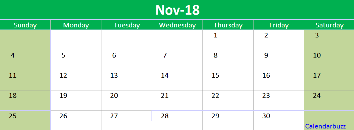 November  Calendar Printable Template Excel   Printable