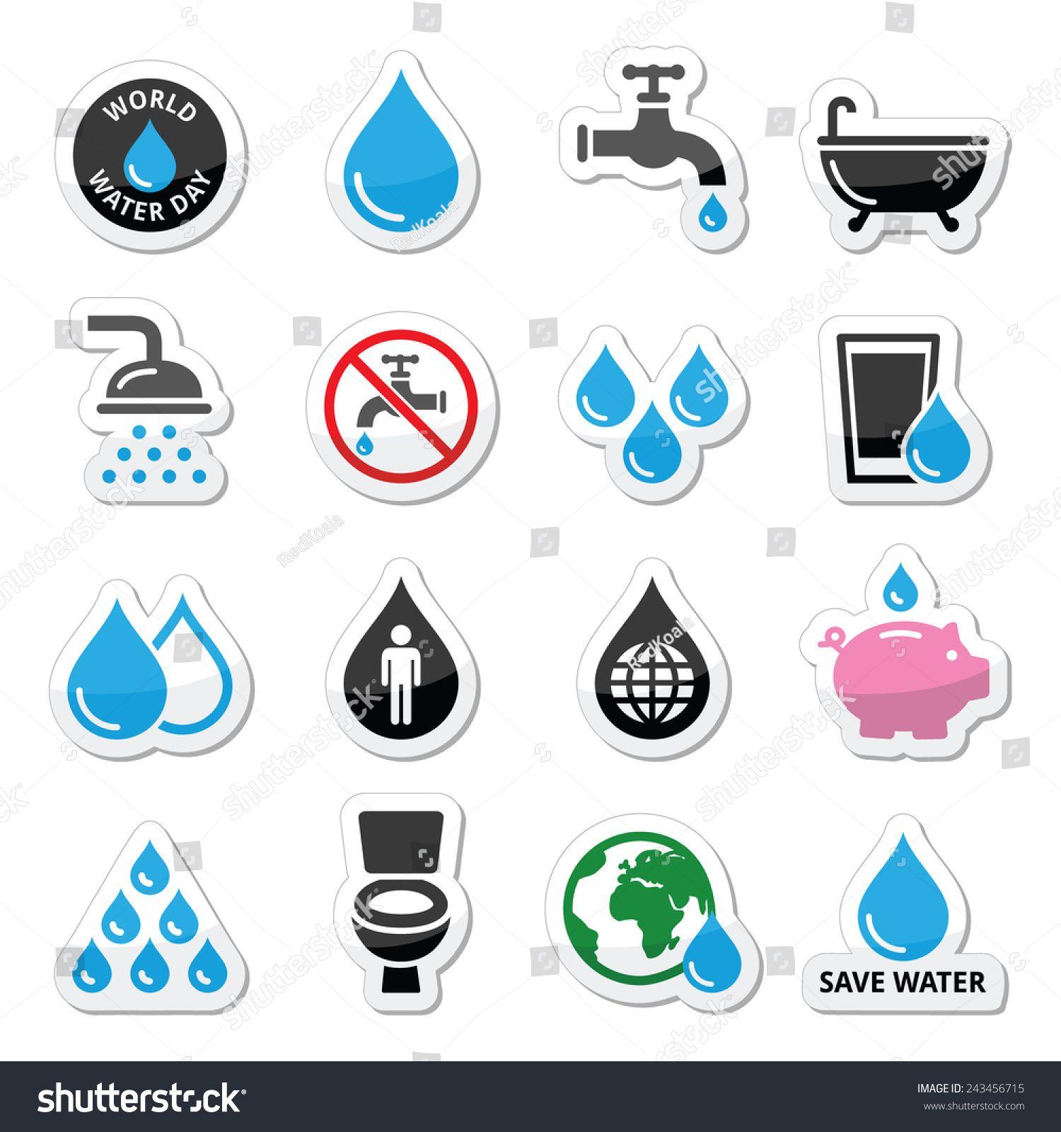 World Water Day Icons Ecology Green Concept Goruntuler Ile Resim Enerji Tasarrufu Hayaller