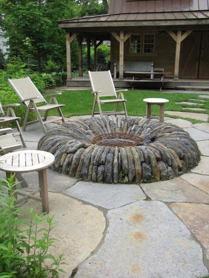 gartengestaltung ideen gartenmöbel steine feuerstelle | garten, Garten Ideen