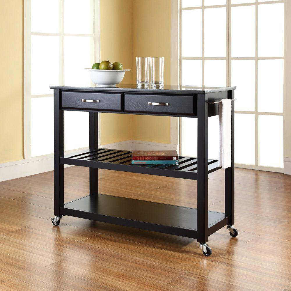Crosley Black Kitchen Cart With Black Granite Top Kf30054bk The Home Depot Portable Kitchen Island Kitchen Tops Granite Kitchen Cart