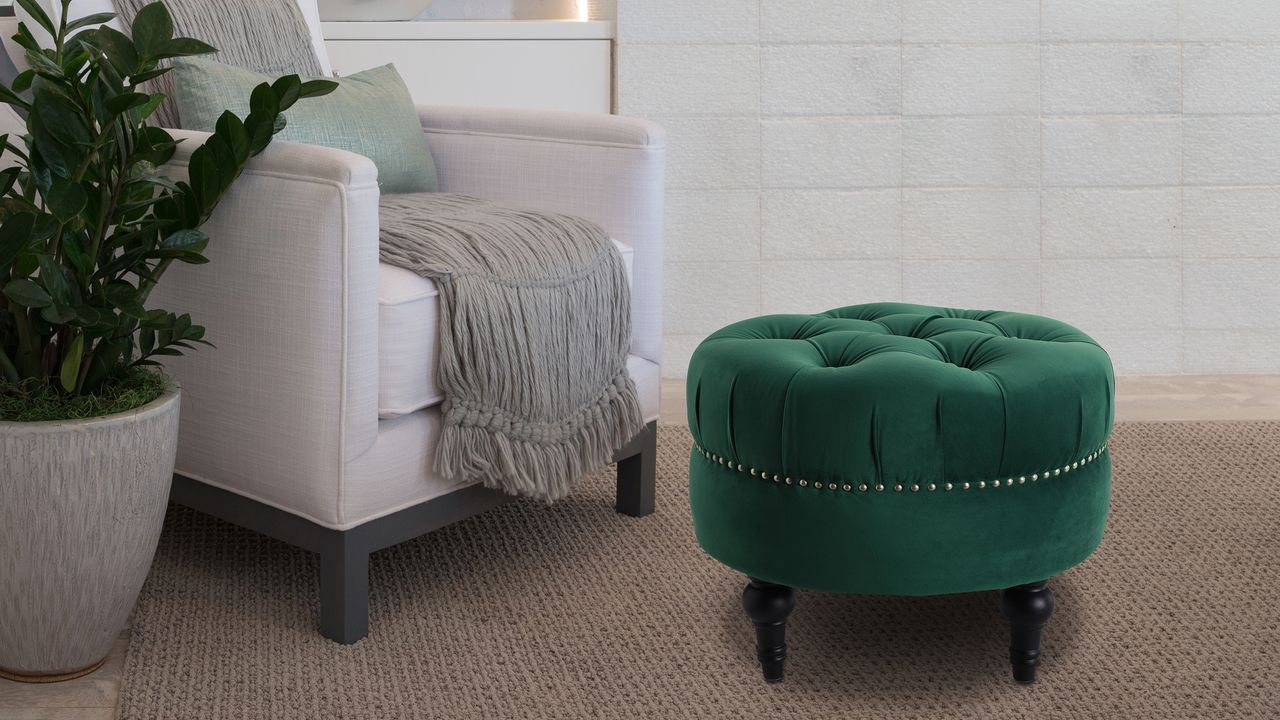 Incredible Dawn Tufted Round Ottoman Evergreen Natural Elements Bralicious Painted Fabric Chair Ideas Braliciousco