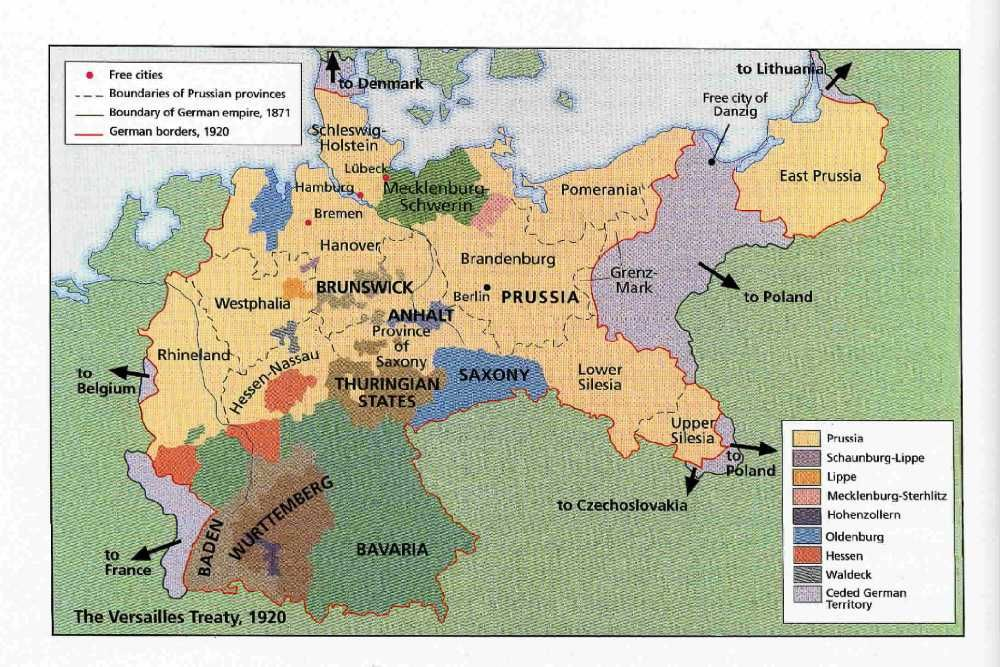 Map Of Germany Throughout History.Map Of Germany After Treaty Of Versailles 1920 History Wwi Map