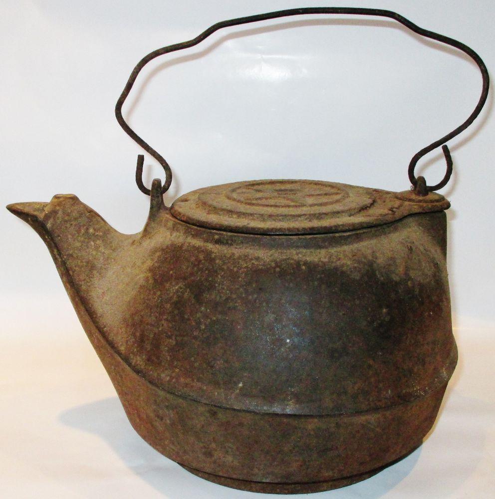 Antique Cast Iron Water Kettle Large Pot Swing Lid Offset Base ...