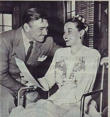 Susan Peters with Clark Gable, following the accident that left ...