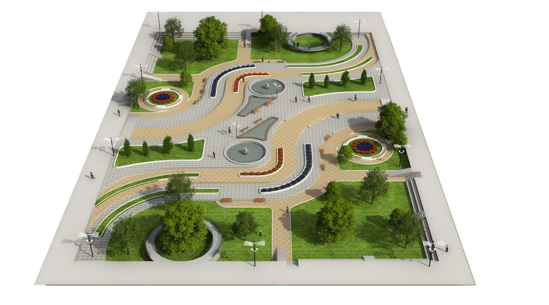 Landscape Park 2 3d Model 3d Model Sanat Cizimleri Cizim Tasarim