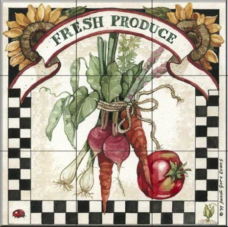 Fresh Produce by Sandi Gore Evans - Kitchen Backsplash / Bathroom wall Tile Mural