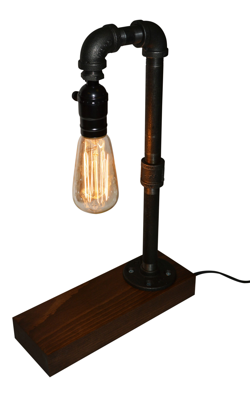 industrial pipe lighting. Oxford Farmhouse Rustic Industrial Desk / Table Lamp \u2013 {Vintage Style Edison Pipe Lighting} Lighting
