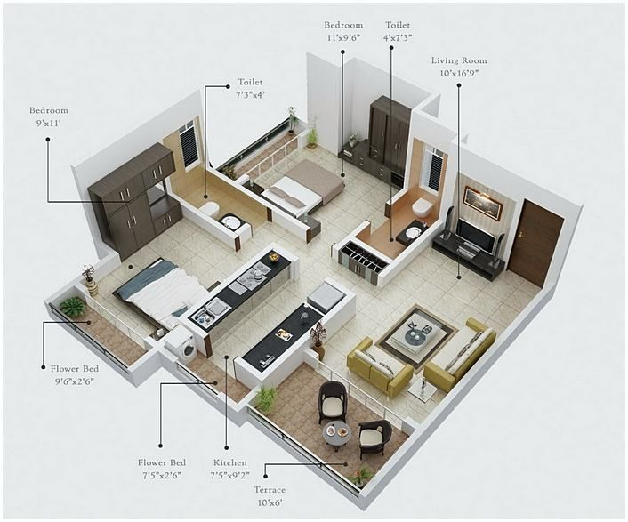 2 Bedroom House Plans Open Floor Plan 間取り 建築 室内