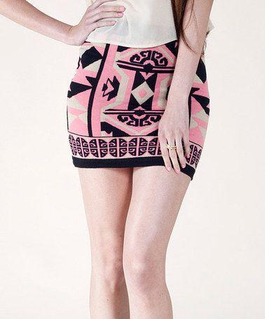 Look at this #zulilyfind! Pink & Black Tribal Miniskirt #zulilyfinds