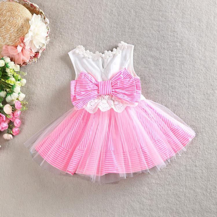 2016 muchachas del verano Pink Tutu vestidos de rayas del cordón de ...