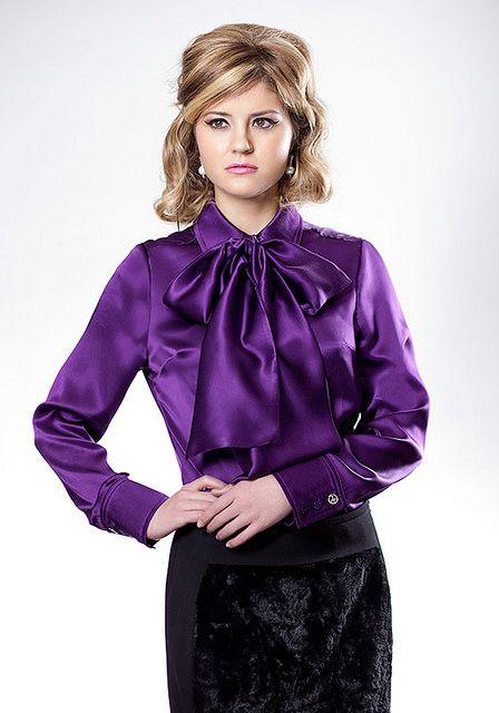 38714565b860a3 Purple Shiny LIQUID SATIN BOW BLOUSE More