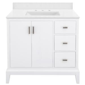 Home Decorators Collection Shaelyn 37 In W X 22 In D Bath Vanity In White Rh With Engineered Marble Vanity Top In Snowstorm With White Sink Slwv3622dr Sst T In 2020 Marble