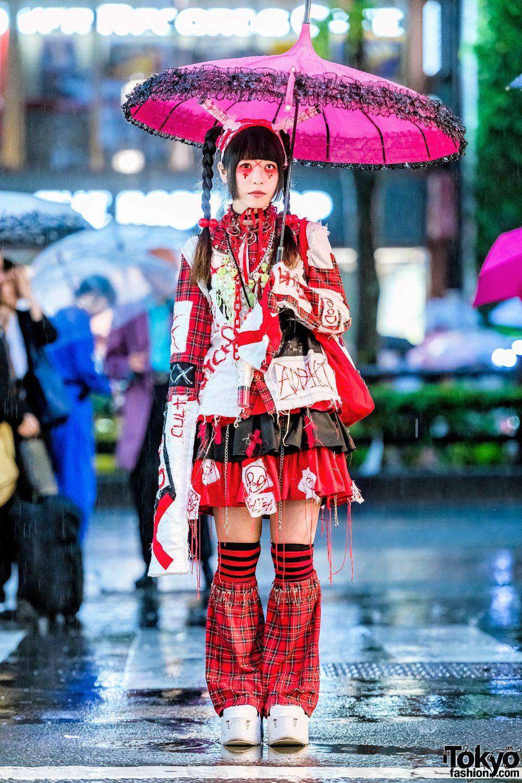 Harajuku Girl in PunkGothic Handmade Fashion, ACDC Rag