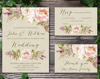 Printable Wedding Invitation Fl Por Tranquillina