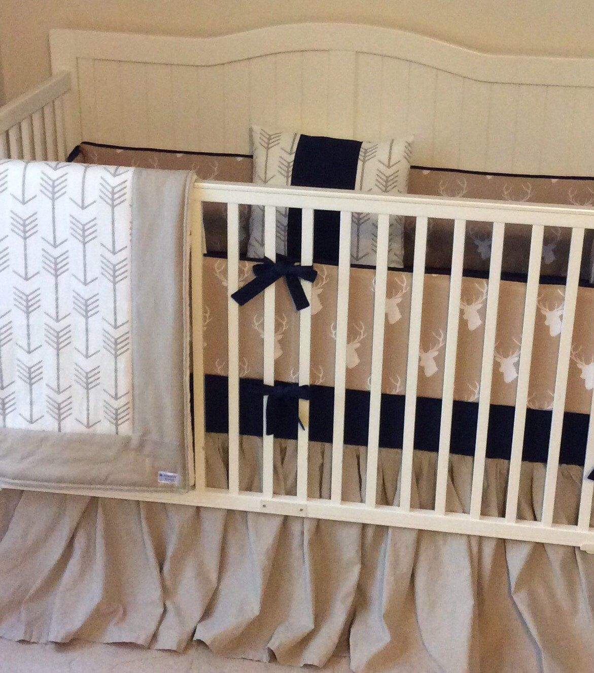 Crib Bedding Set Tan And Navy Stag Washed Linen Baby Boy Crib Bedding Crib Bedding Boy Rustic Baby Bedding