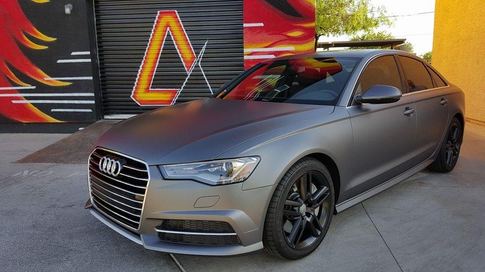 2016 Audi A6 1 Matte Dark Grey Full Vinyl Wrap 2 Matte