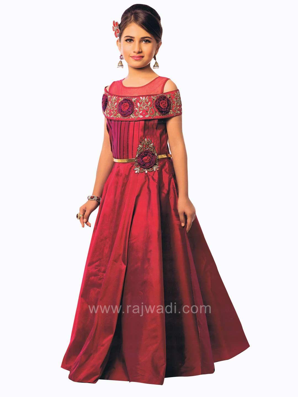 8584d471a9d8 Designer Cold Shoulder Party Dress in Maroon  rajwadi  kidswear  girls   ethnic  traditional  modern  trendy  fashionable  kidsfashion