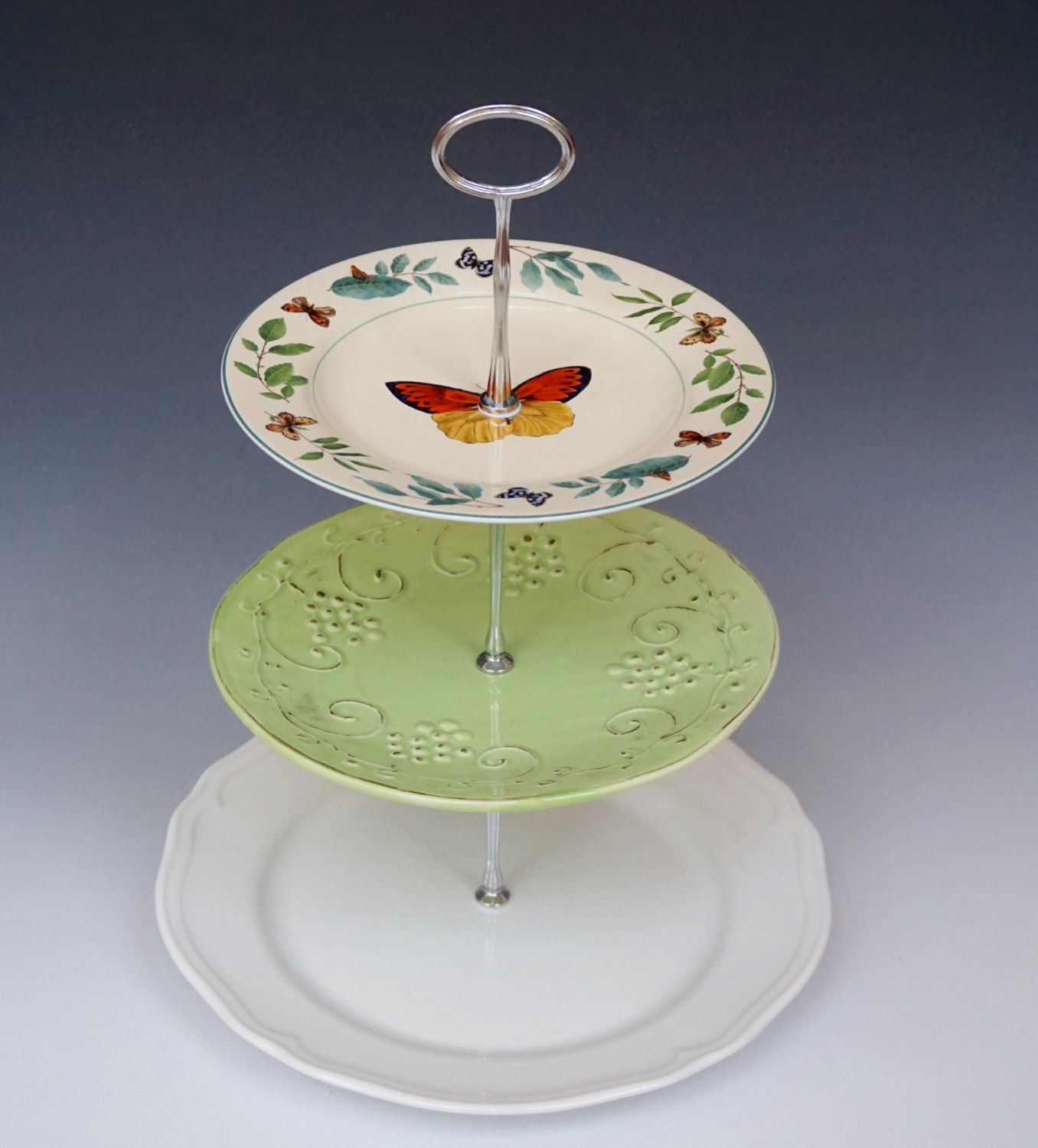 3 Tier Serving Tray Made From Italian Pottery Sakura Butterfly Plate And New Ikea Plate Base Fun Italian Pottery 3 Tier Serving Tray Italian Pottery Plates