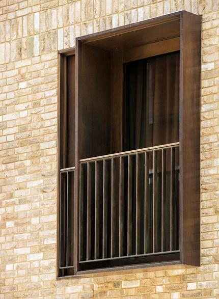 Balcony Design London: London Stock Brick With Bronze Framed Windows And