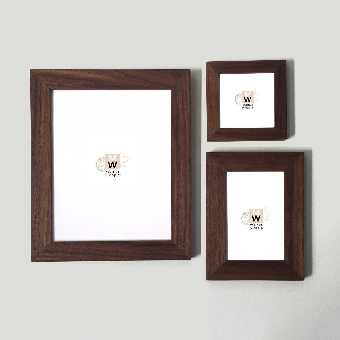 Walnut Frame Set 1 25 Width Profile 3 Piece Modern Etsy Wood Photo Frame Picture Frame Sets Wood Picture Frames
