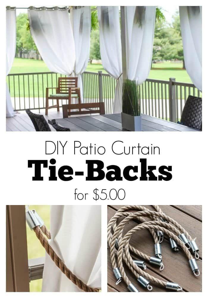 Photo of DIY Patio Curtain Tie Backs for $5.00 – Rustic/Nautical