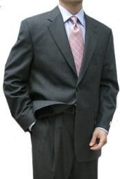 SKU#HAS341 Cotton Summer Light Weight Charcoal 2 Button Double Vent Double Pleat Pant $315 Mens Discount Suits By Style and Quality Mantoni~Bertolini Designer