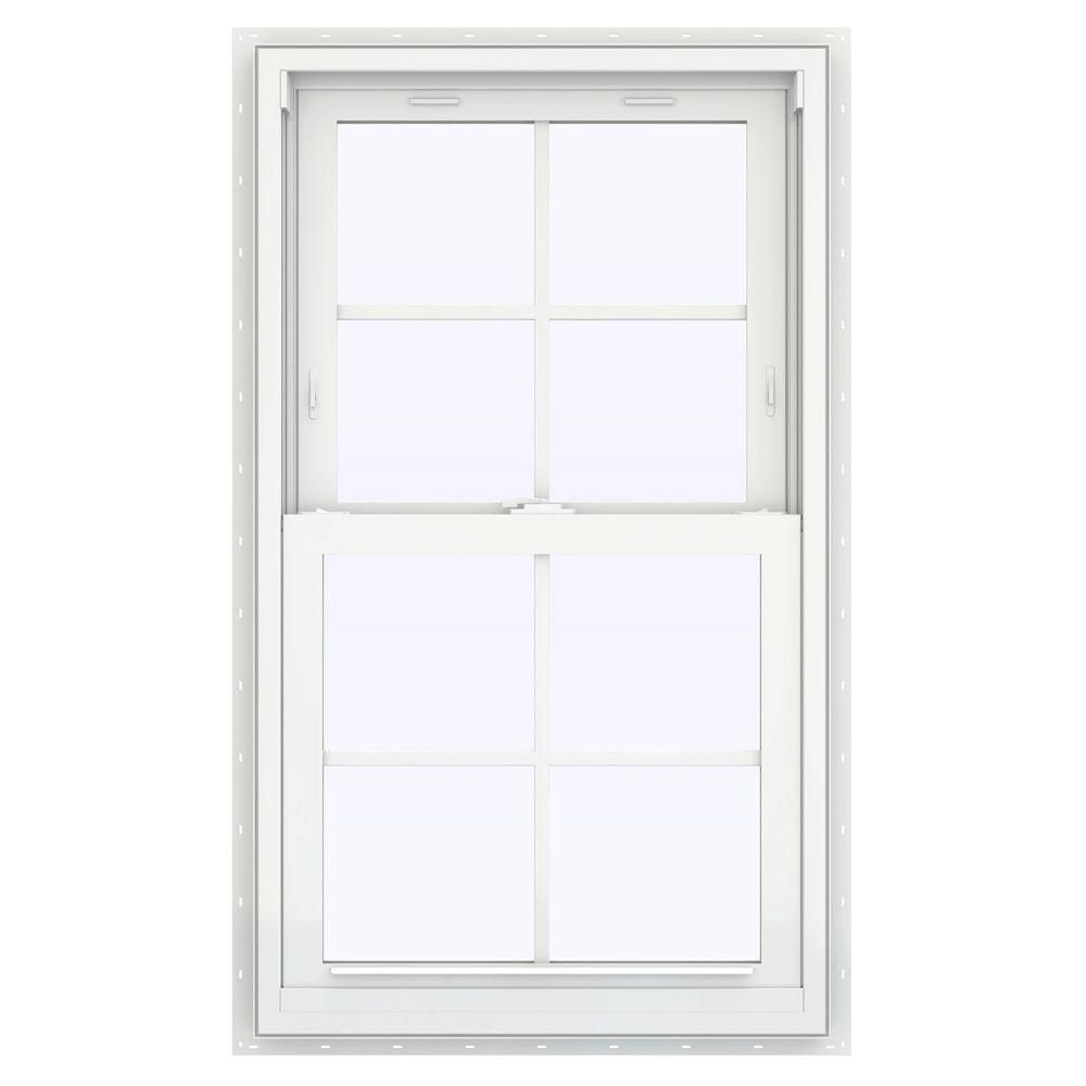 Jeld Wen 24 In X 48 In V 2500 Series Bronze Finishield Vinyl Double Hung Window With Colonial Grids Grilles Th In 2020 Double Hung Windows Double Hung Window Vinyl