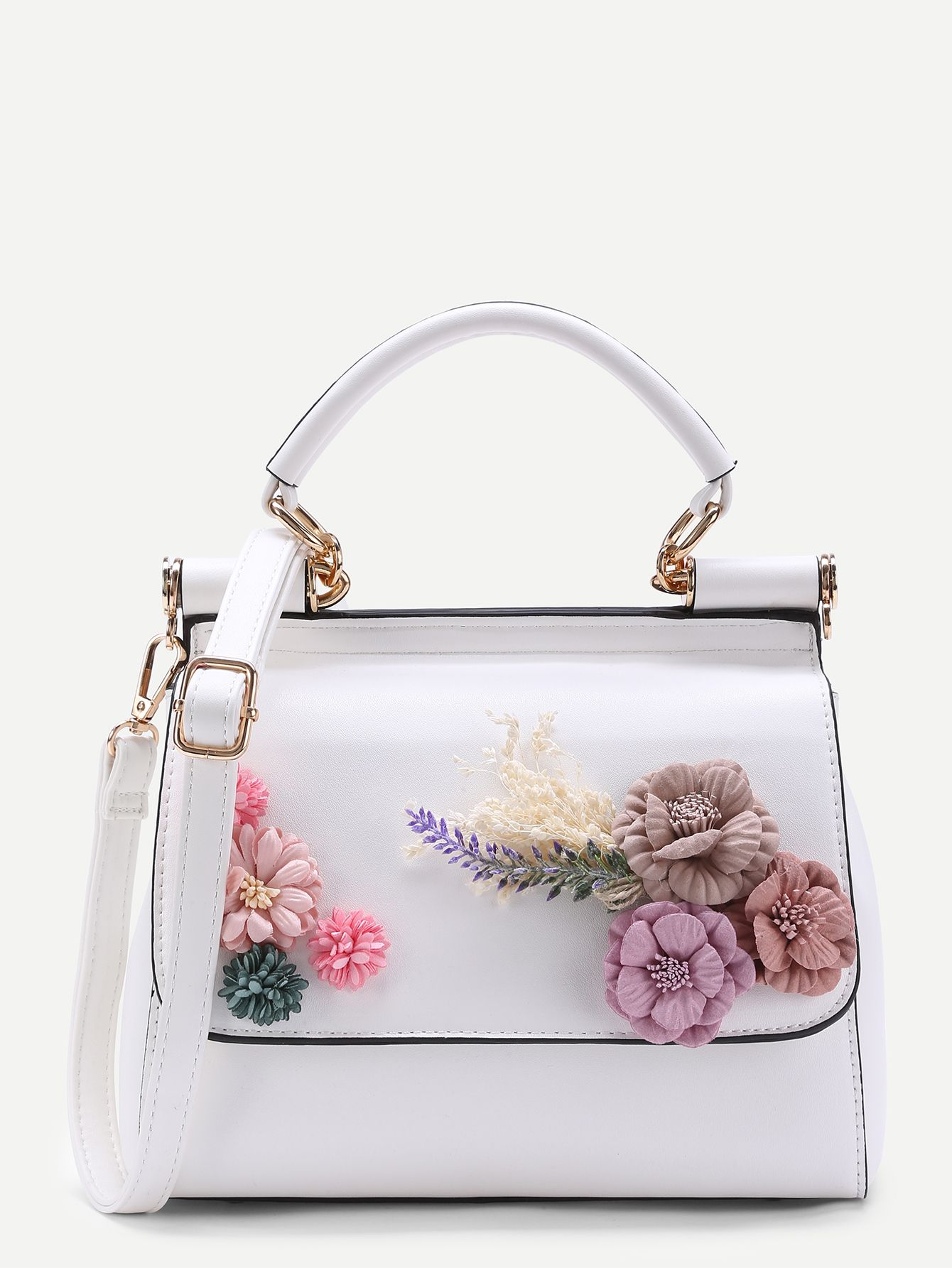 ec373dad54 Shop Applique Flower PU Shoulder Bag online. SheIn offers Applique Flower  PU Shoulder Bag   more to fit your fashionable needs.