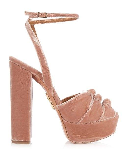 874f889c27e Aquazzura Mira knot velvet platform sandals