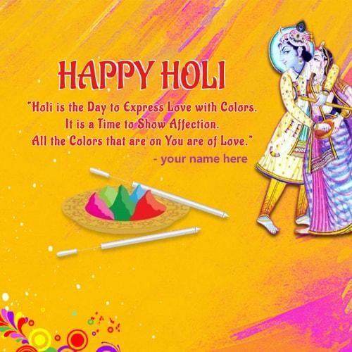 Write Name On Radhe Krishna Playing Holi Greetings Cards Radha