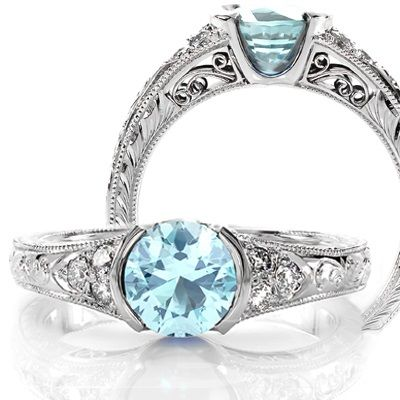 aquamarine engagement rings featuring antique custom platinum and diamonds jewelry designs - Aquamarine Wedding Rings