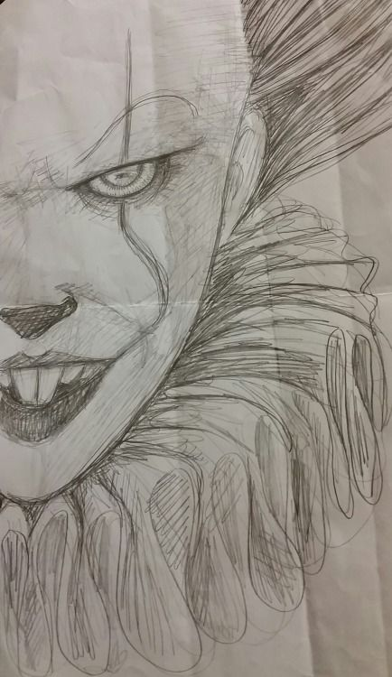 Pennywise doodleon crinkly paper not bad for no reference horror nerdism pinterest horror stranger things and movie