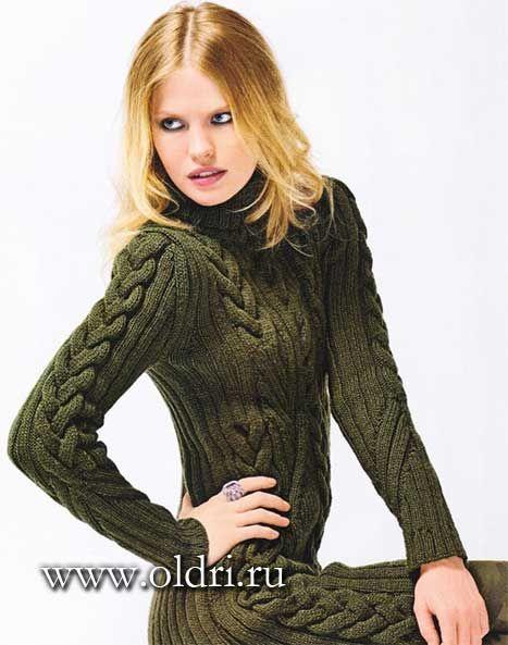 теплое вязаное платье спицами с косами фото схемы и описание