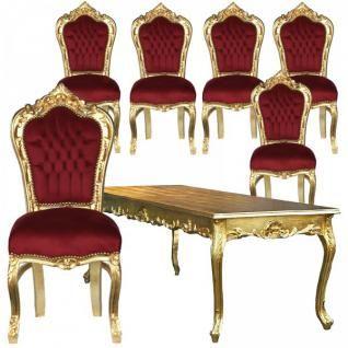 Speisezimmer Massiv Barockmöbel Esszimmer Antik Top Set Tisch Stühle Rot  Gold   Vorschau 1