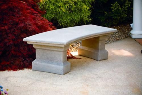 Delightful Classic Curved Cement Garden Outdoor Bench Large