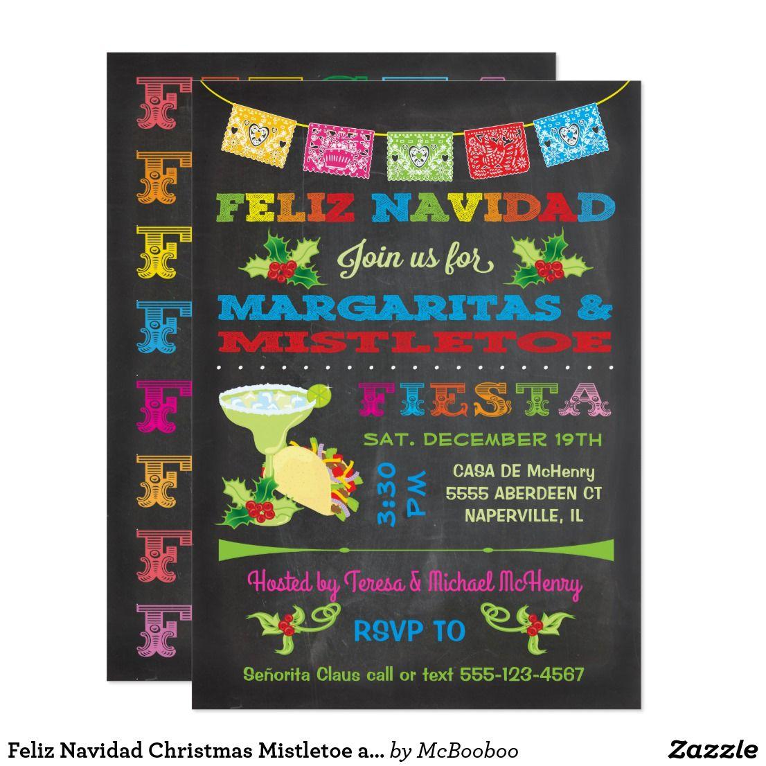 Feliz Navidad Christmas Mistletoe and Margaritas Invitation | Zazzle.com