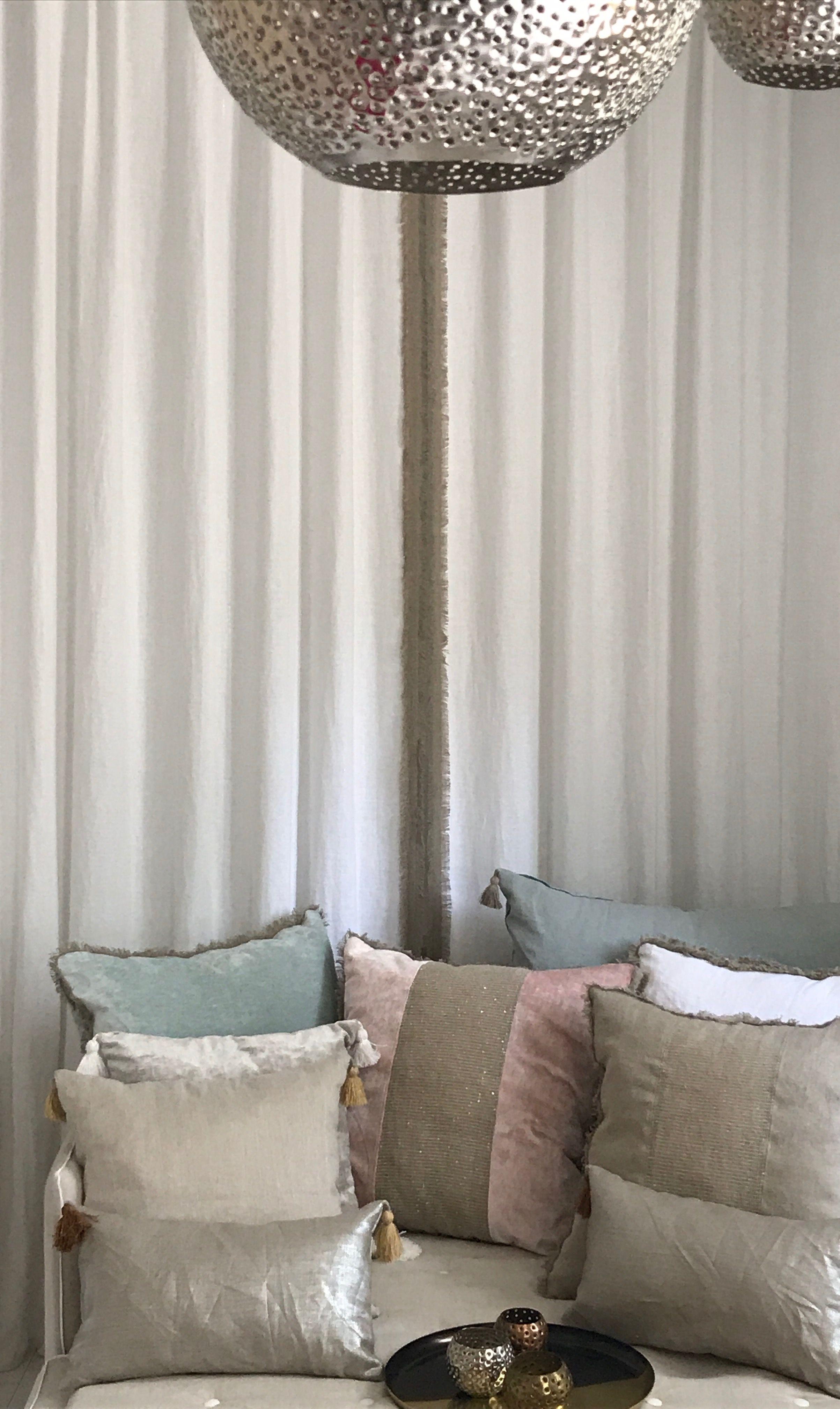 Rideaux sur mesure apache 1 lin blanc grande largeur avec Rideaux largeur 55 cm