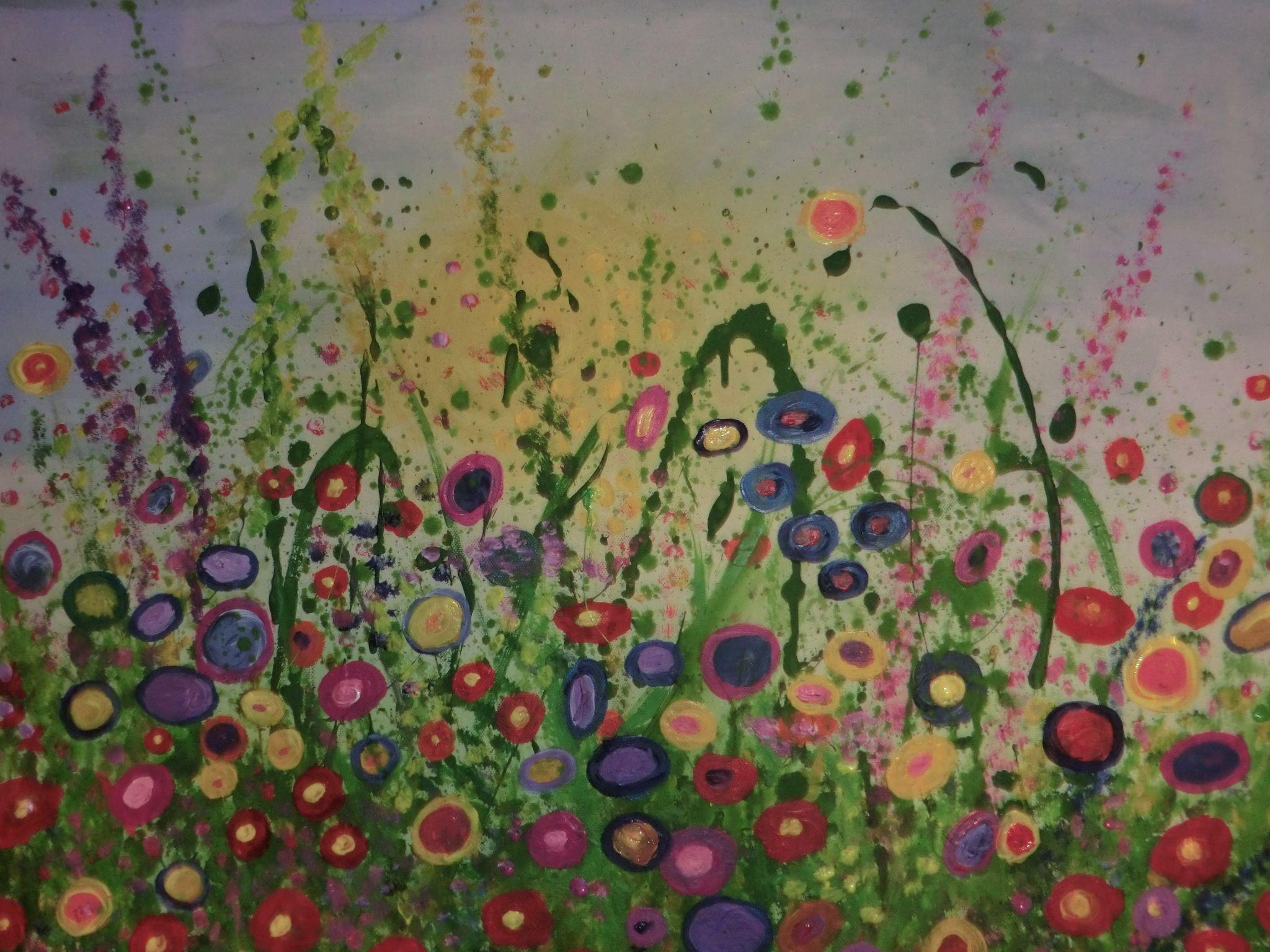 Attraktiv Blumenwiese Am Abend