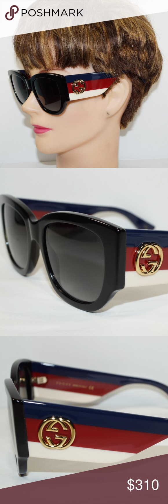 a70ef907ee0 GUCCI CAT EYE BLACK BLUE RED STRIPE SUNGLASSES Brand New 100% Authentic  GUCCI OVERSIZE CAT