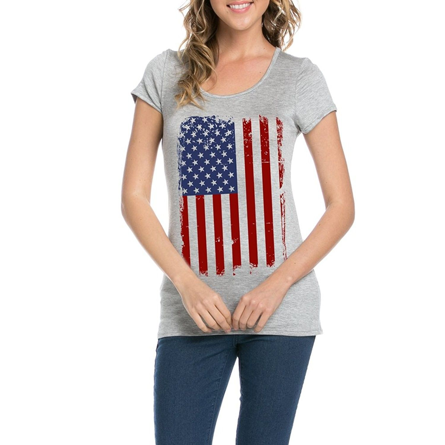 American Flag For Independence Day Women S Round Neck Short Sleeves T Shirts Nt6114 211 Grey C5183ktiewi Women Clothes Sale Clothes For Women Fashion Clothes Women
