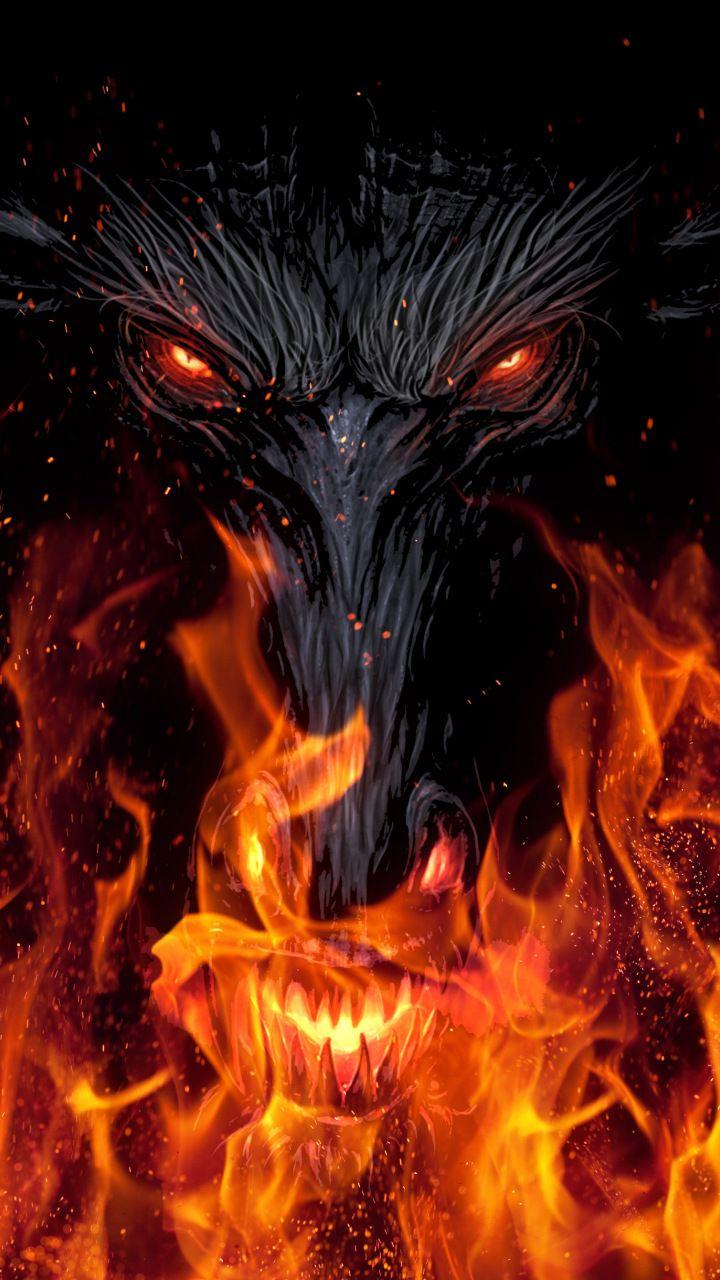 Devils Face Fire Dark Fantasy 720x1280 Wallpaper