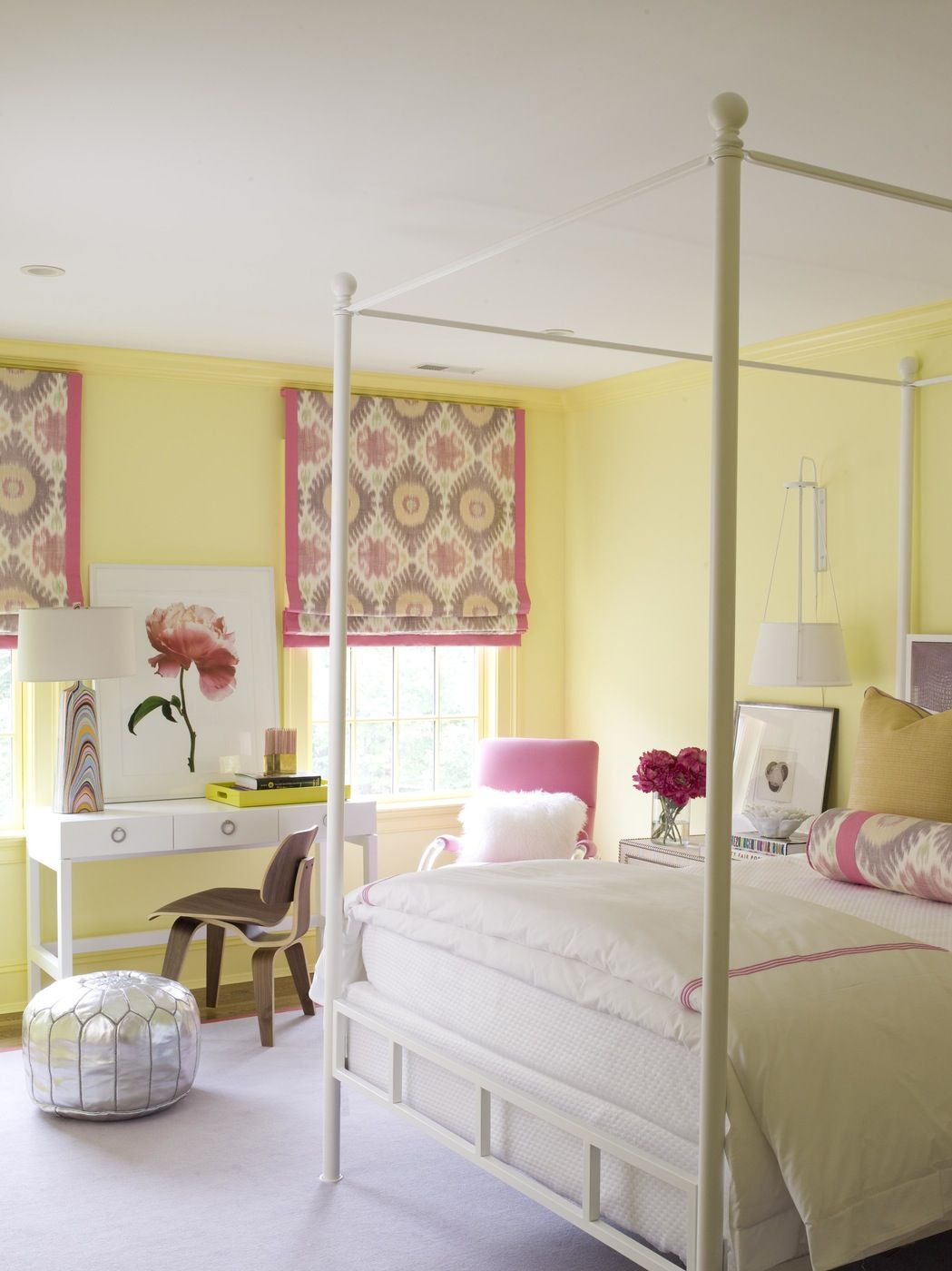 Yellow and Coral Guest Bedroom with Canopy Bed by S.B. Long ...