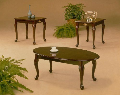 Best 3 Pcs Cherry Finish Coffee End Table Set Queen Anne 400 x 300