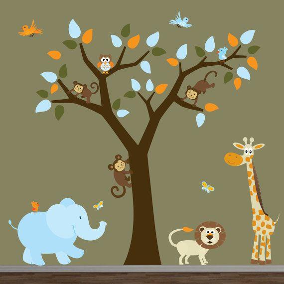 Safari Nursery Jungle Wall Decal-Tree,Monkeys,Elephant,Giraffe ...