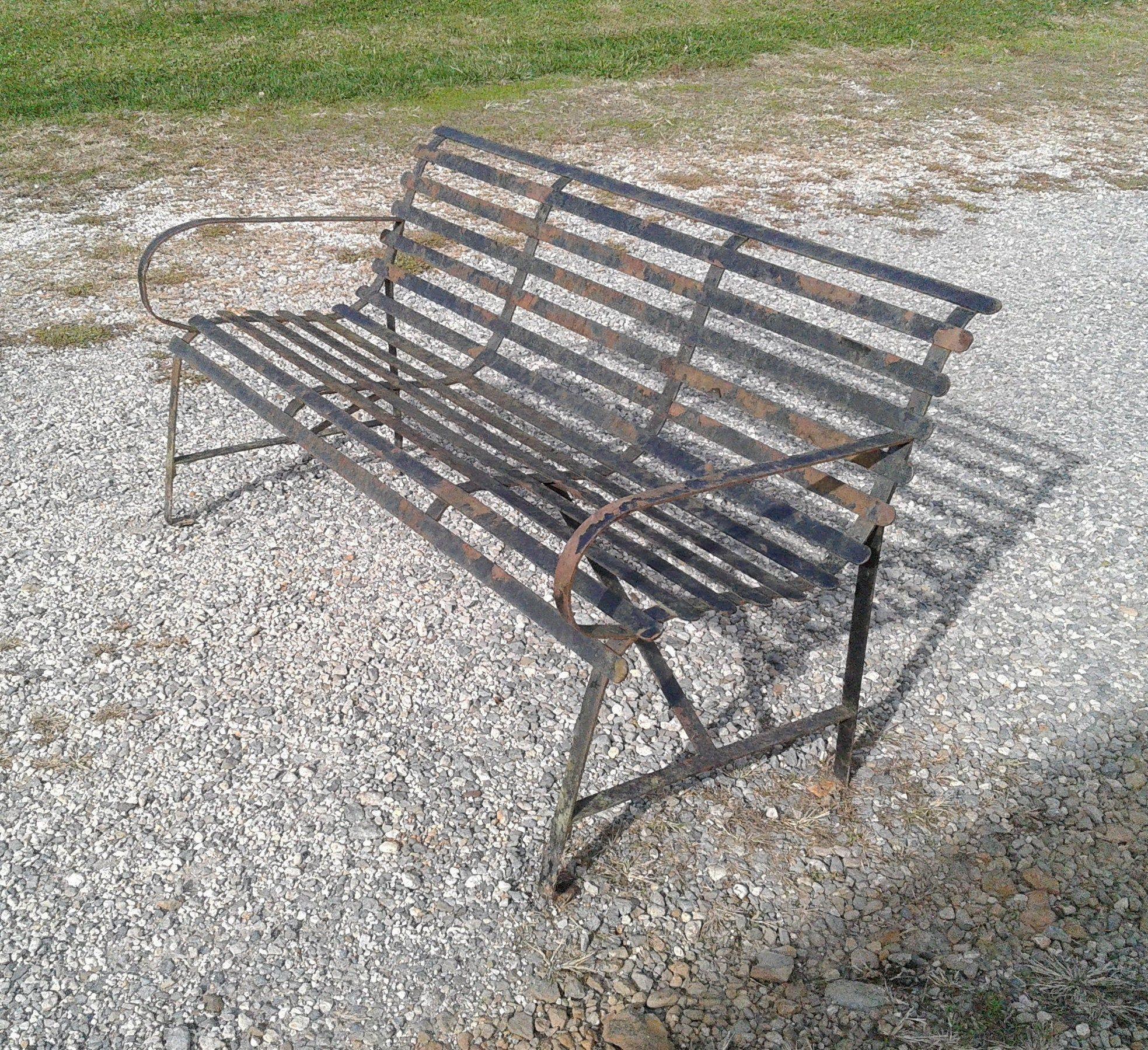 Antique Cast Iron Garden Or Park Bench Black With Slats 1930 Era In 2020 Antique Cast Iron Cast Iron Garden Bench Iron Bench