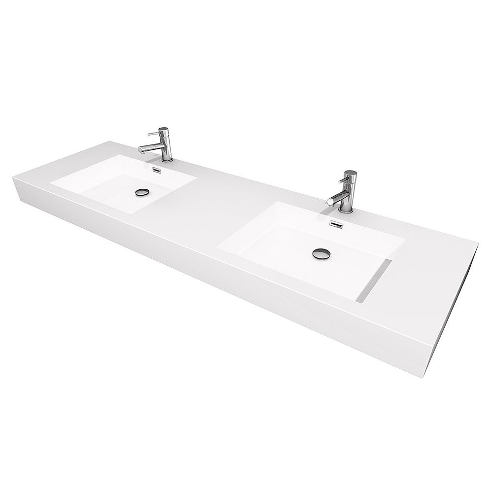 Amare 72 Inch Wall Mounted Double Vanity Top