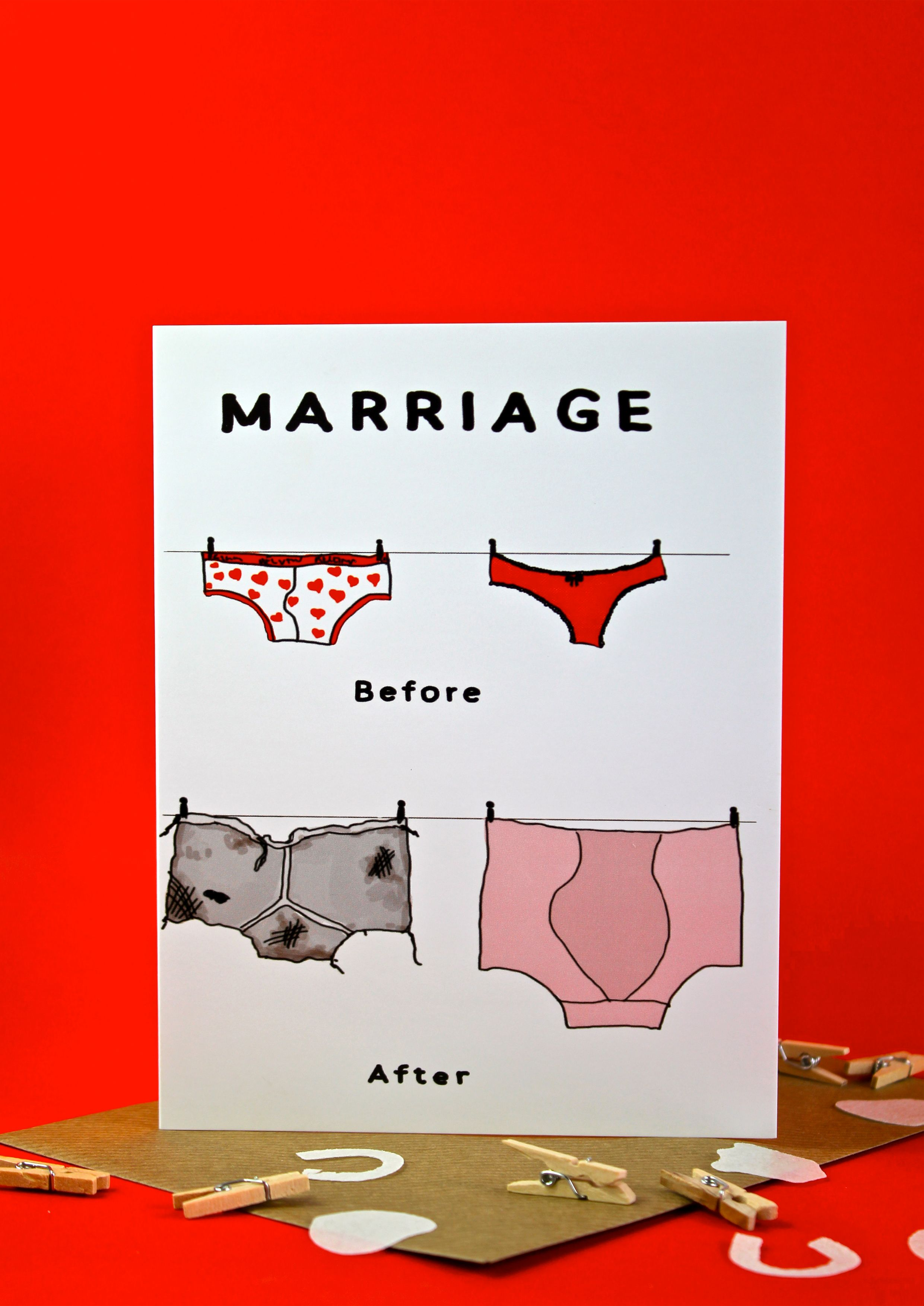 Marriage\' Greeting Card. a Funny and homorous Hand drawn Wedding or ...