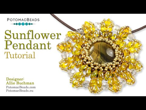Photo of Sunflower Pendant- DIY Jewelry Making Tutorial by PotomacBeads